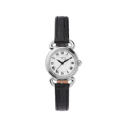 Driver Mini Round Stainless Steel & Black Leather Watch, , hires