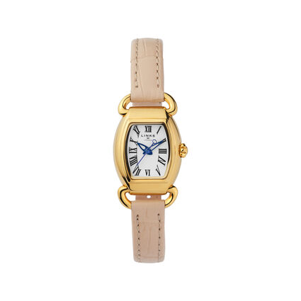 Mini Tonn Driver 18K Yellow Gold Vermeil & Ivory Leather Watch, , hires