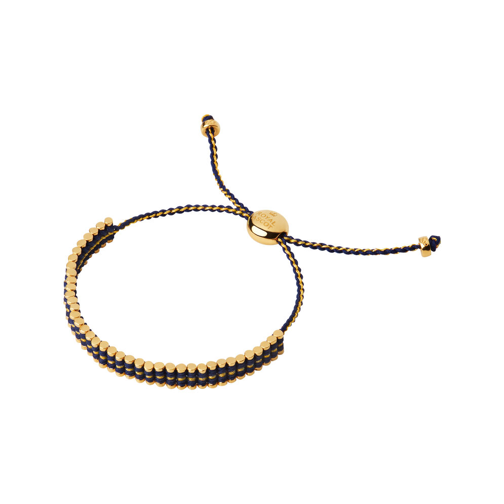 Ascot 18kt Yellow Gold Vermeil & Blue Cord Mini Friendship Bracelet, , hires