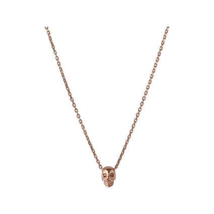 18kt Rose Gold Vermeil Mini Skull Necklace, , hires