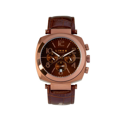 Brompton Brown Stainless Steel & Brown Leather Chronograph Watch, , hires