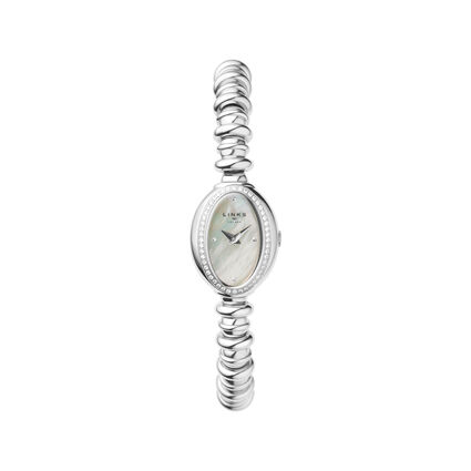 Sweetheart Stainless Steel & White Topaz Watch, , hires