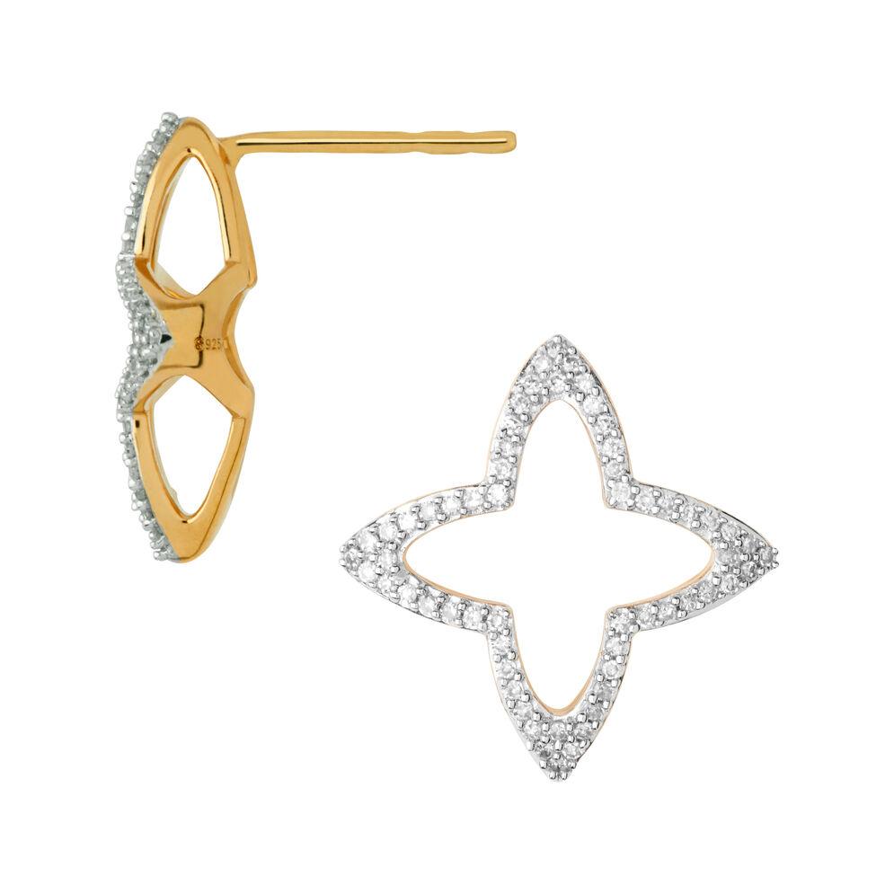 Splendour 18kt Yellow Gold Vermeil & Diamond Open Four-Point Star Stud Earrings, , hires