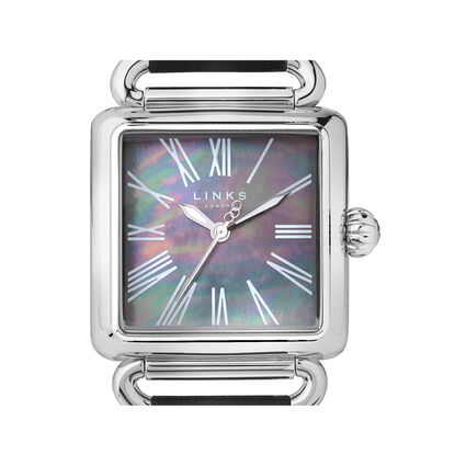 Driver Black Mother of Pearl & Black Leather Watch, , hires