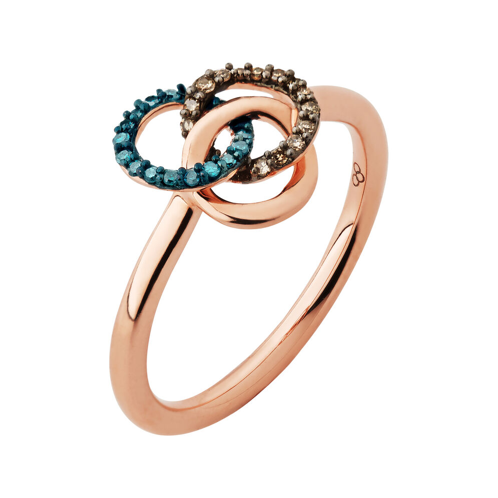 Treasured 18kt Rose Gold Vermeil, Champagne & Blue Diamond Ring, , hires