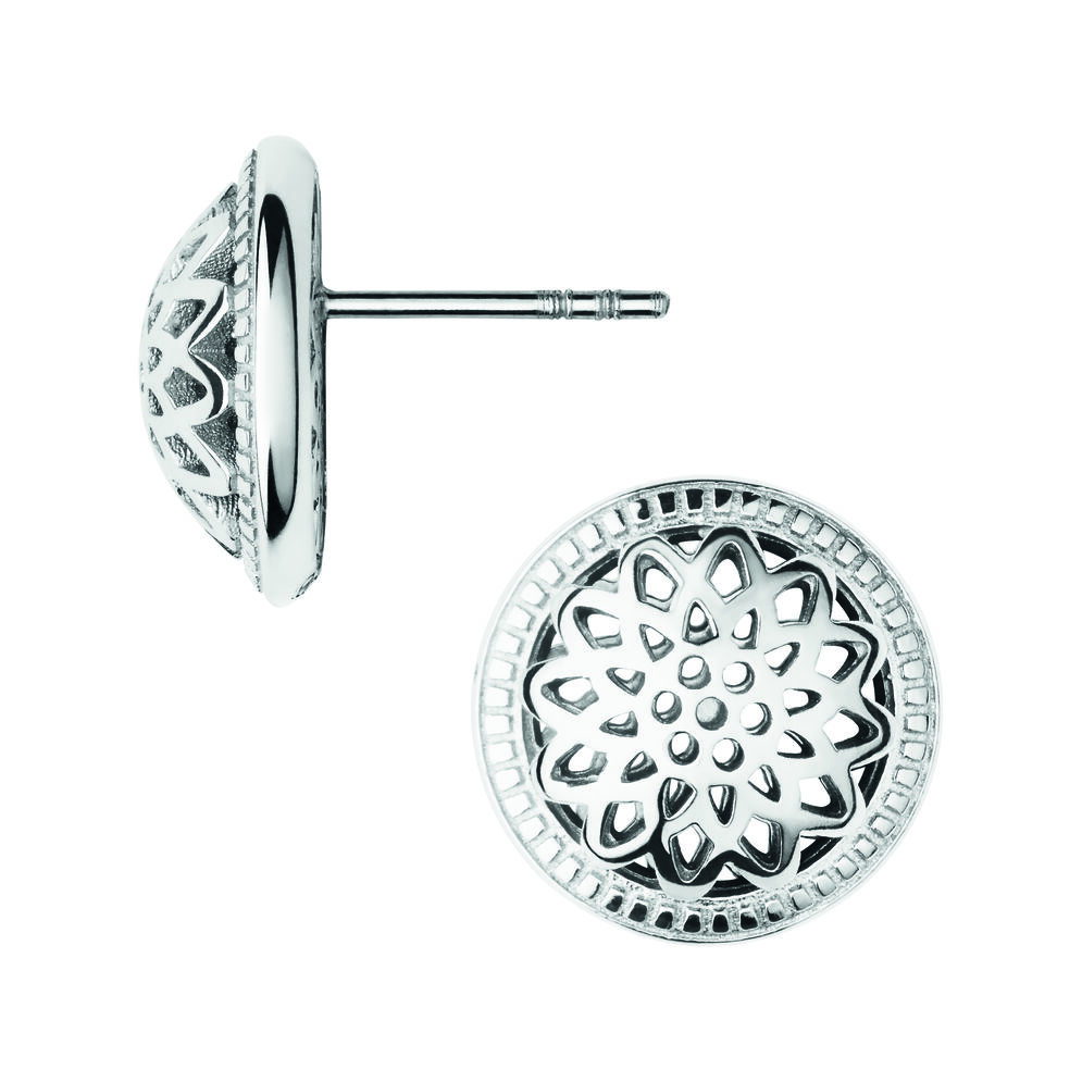 Timeless Sterling Silver Domed Stud Earrings, , hires