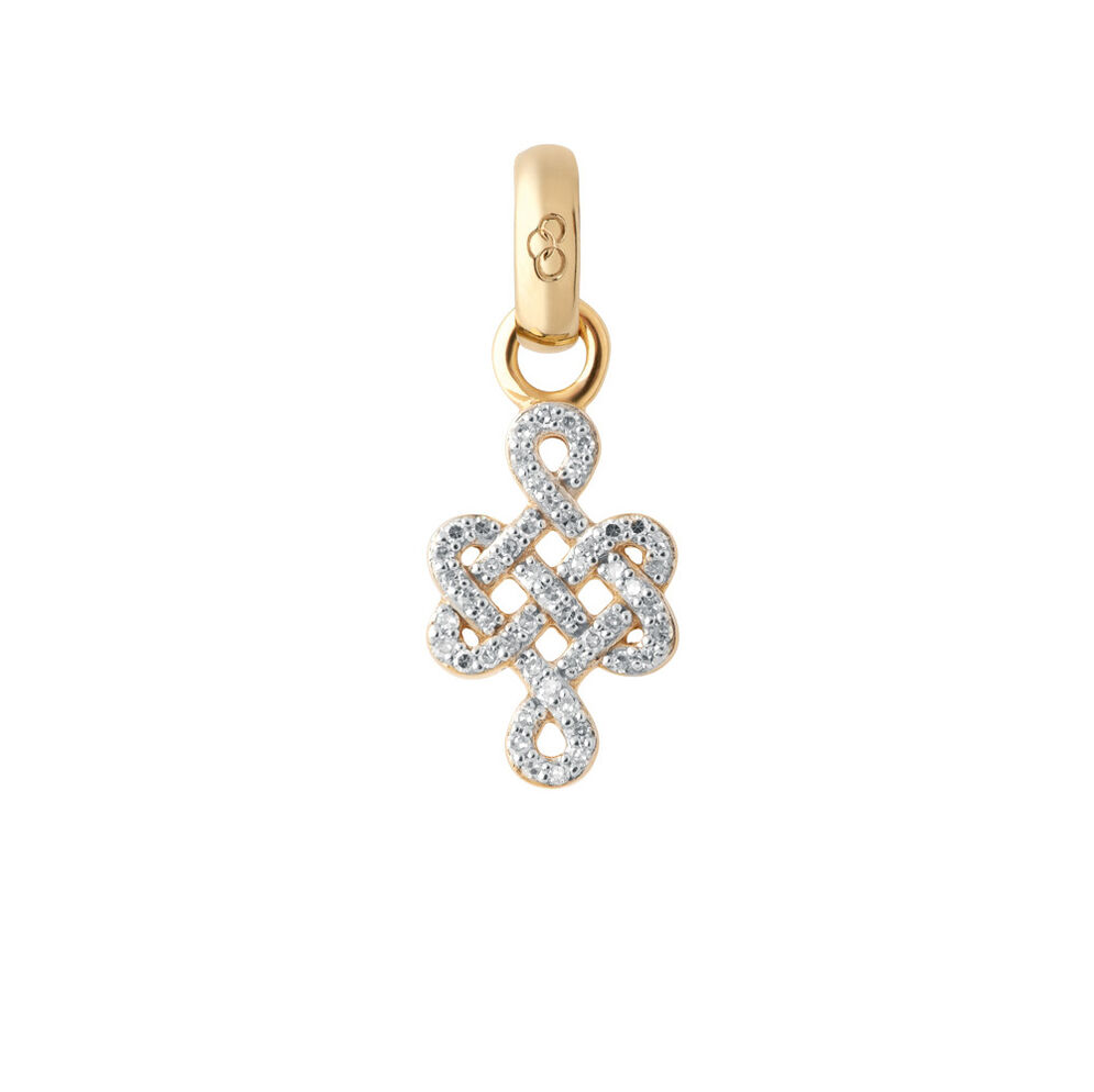 18ct Yellow Gold & Diamond Infinity Knot Charm, , hires