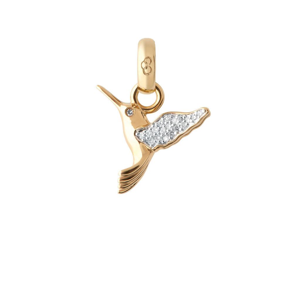 18ct Yellow Gold & Diamond Hummingbird Charm, , hires