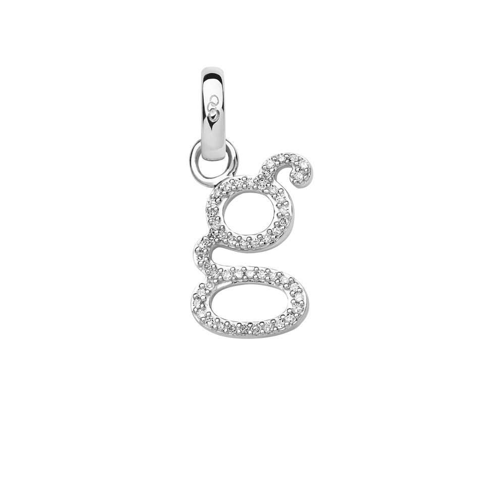 Sterling Silver & Diamond G Alphabet Charm, , hires