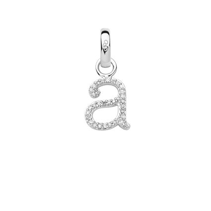 Sterling Silver & Diamond Letter A Charm, , hires
