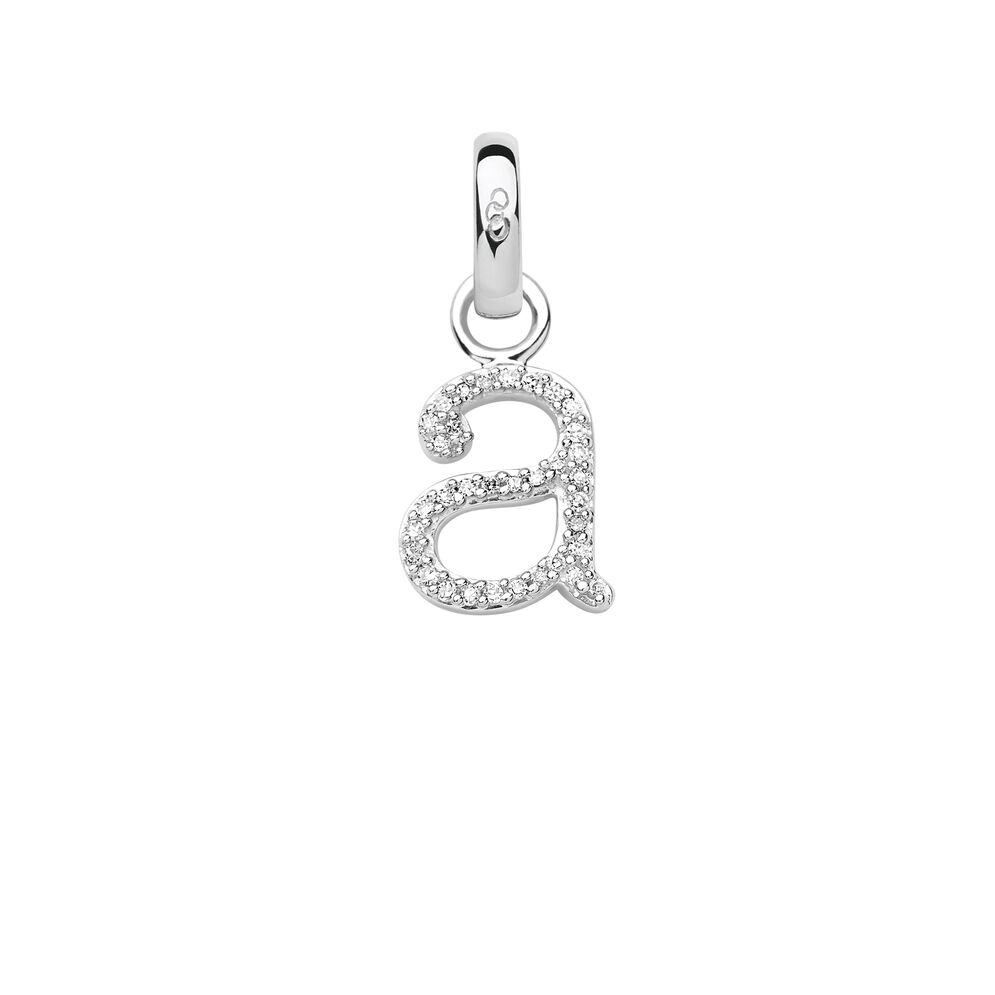 Sterling Silver & Diamond A Alphabet Charm, , hires