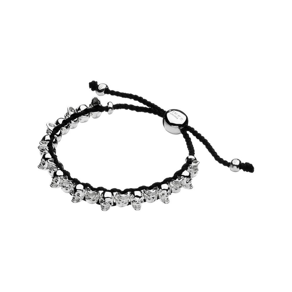 Sterling Silver & Grey Cord Skull Friendship Bracelet, , hires