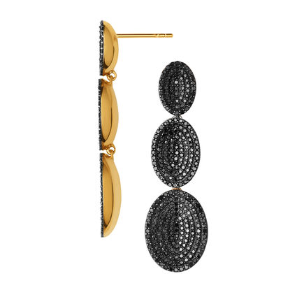 Concave 18K Yellow Gold Vermeil & Black Diamond Drop Earrings, , hires