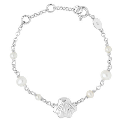 Sterling Silver Childs Shell ID Bracelet, , hires