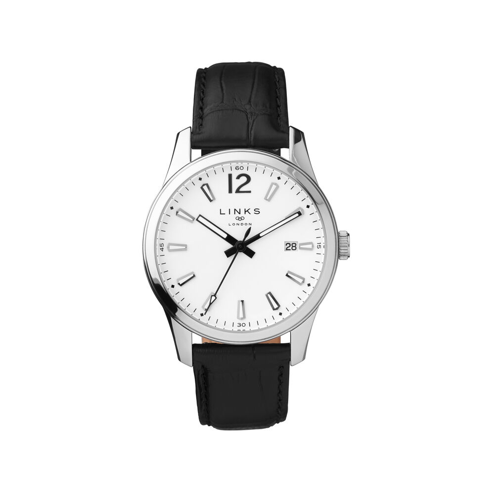 Greenwich Noon Mens Stainless Steel & Black Leather Watch, , hires