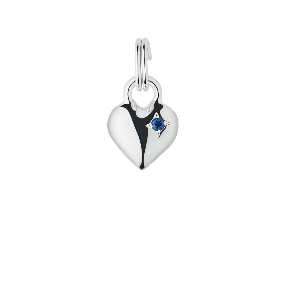 Sterling Silver & Blue Sapphire Mini Heart Charm, , hires