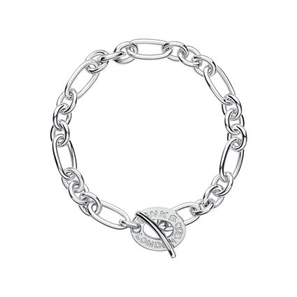 Sterling Silver Chain Charm Bracelet, , hires