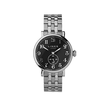 Greenwich Mens Black Dial Stainless Steel Bracelet Watch, , hires