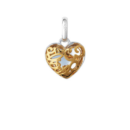 18K Yellow Gold Vermeil & Sterling Silver Flirty 30 Heart Charm, , hires