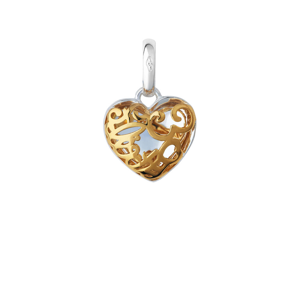 18kt Yellow Gold Vermeil & Sterling Silver Flirty 30 Heart Charm, , hires