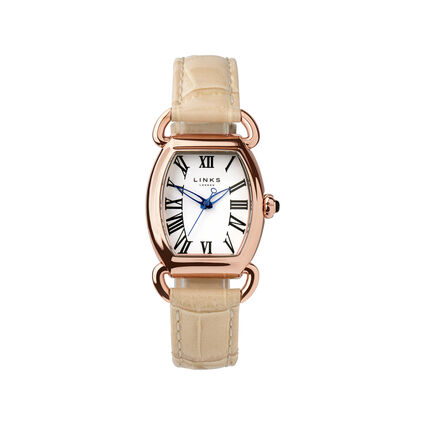Driver Elipse Womens Rose Gold Plate Tan Leather Watch, , hires