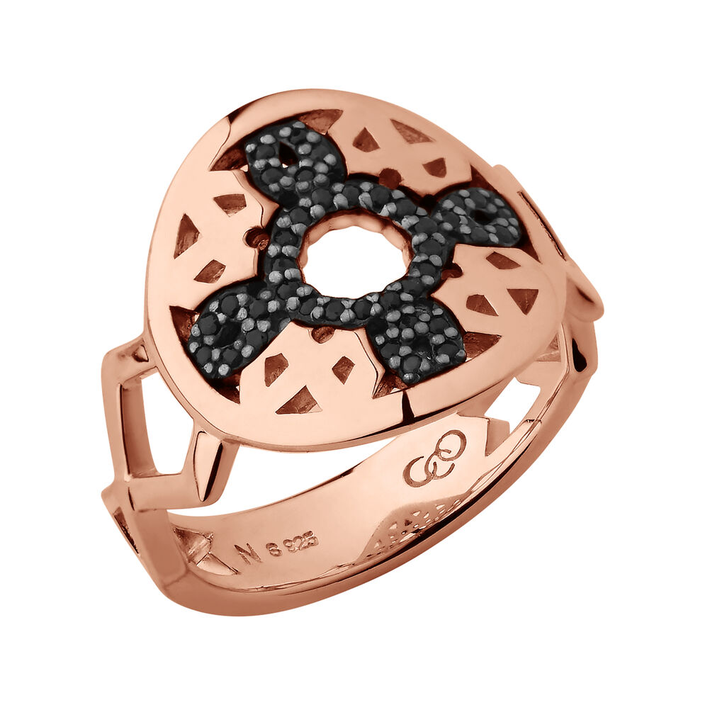 Timeless 18kt Rose Gold Vermeil & Black Sapphire Ring, , hires