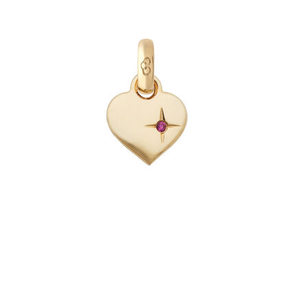 18kt Yellow Gold Mini Pink Sparkle Heart Charm, , hires