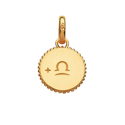 18ct Yellow Gold Vermeil Libra Zodiac Charm, , hires