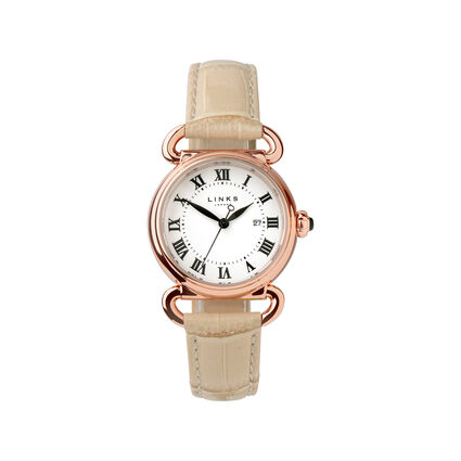 Driver Round Womens Rose Gold Plated Tan Leather Watch, , hires