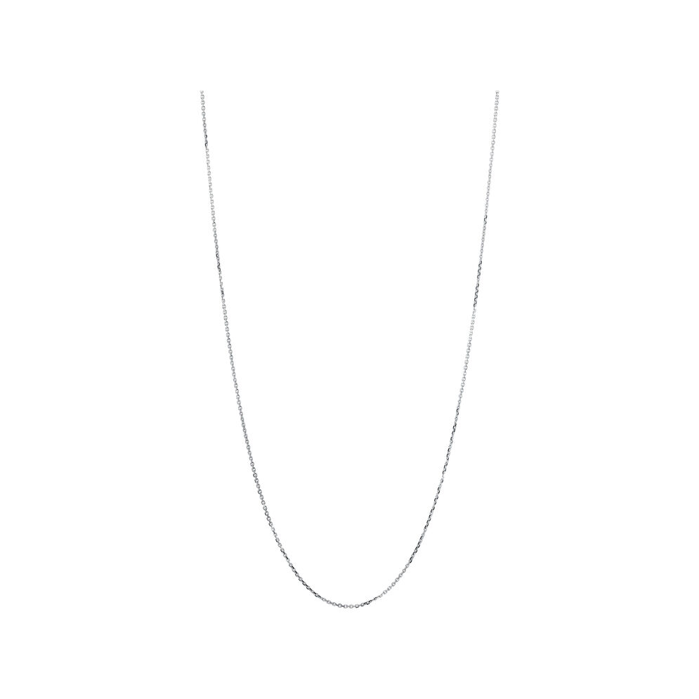 Essentials 18kt White Gold 1mm Cable Chain 60cm, , hires