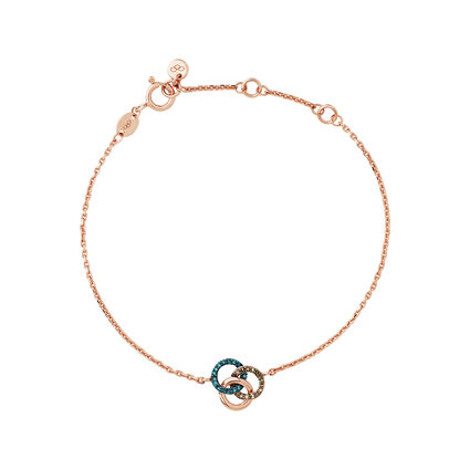 Treasured 18kt Rose Gold Vermeil, Champagne & Blue Diamond Bracelet, , hires