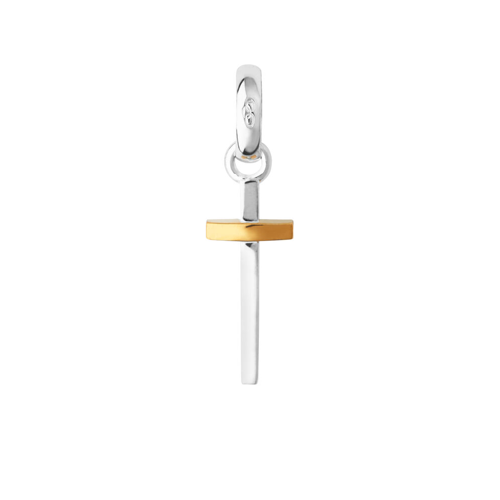 Sterling Silver & 18kt Yellow Gold Vermeil Slim Cross Charm, , hires
