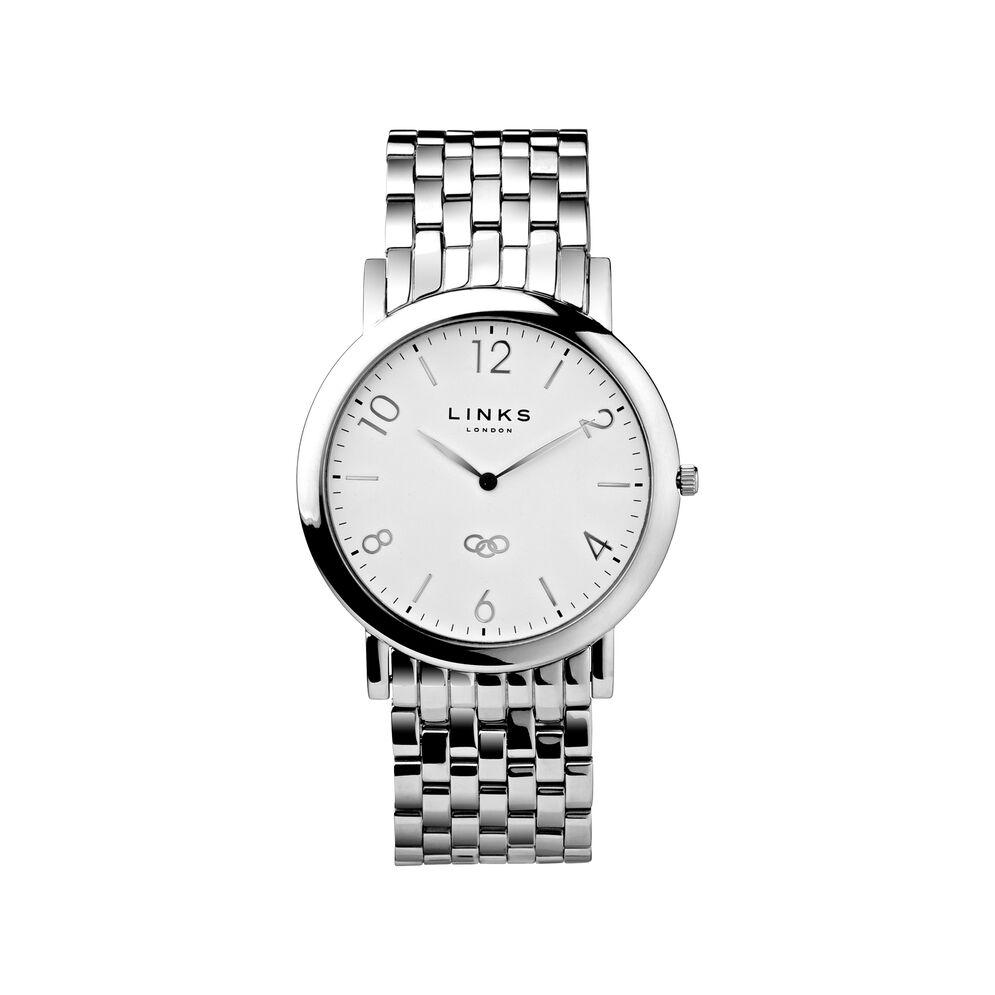 Noble Slim Mens Stainless Steel Silver Bracelet Watch, , hires