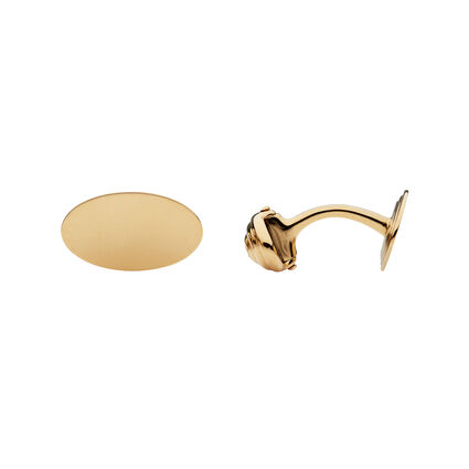 18kt Yellow Gold Classic Oval Cufflinks, , hires