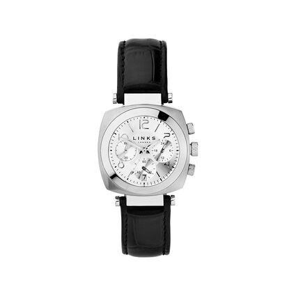 Brompton Womens Stainless Steel & Black Leather Chronograph Watch, , hires
