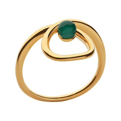 Serpentine 18kt Yellow Gold Vermeil & Green Chalcedony Ring, , hires