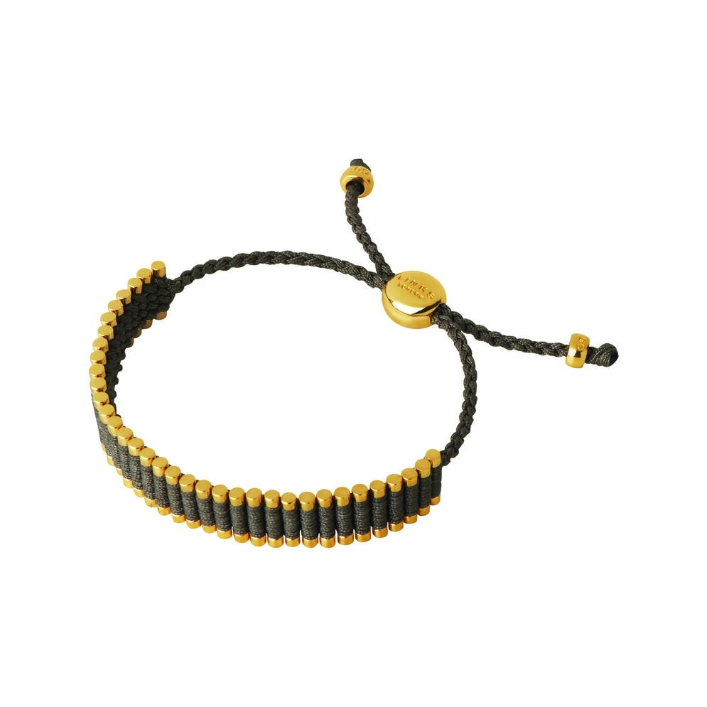 18kt Yellow Gold Vermeil & Khaki Cord Friendship Bracelet, , hires