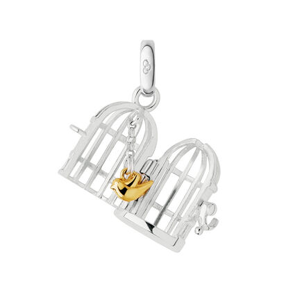 Sterling Silver Birdcage Charm, , hires