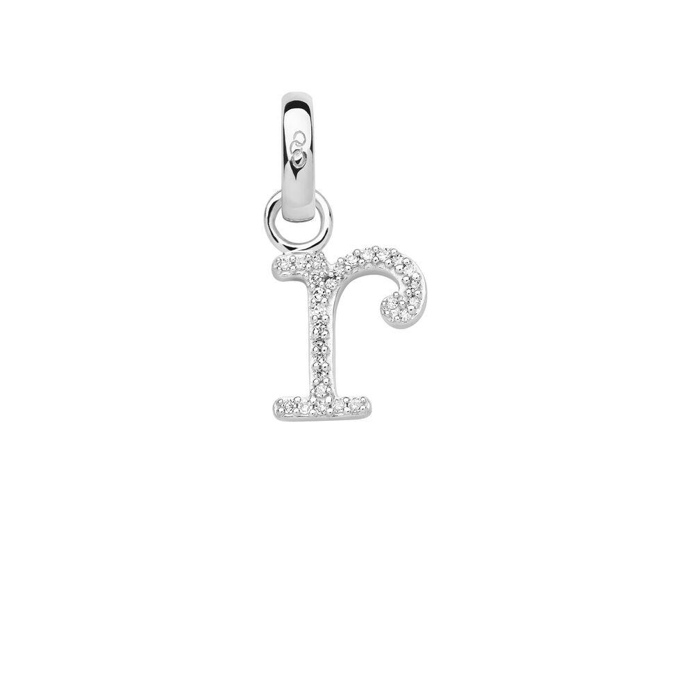 Sterling Silver & Diamond R Alphabet Charm, , hires