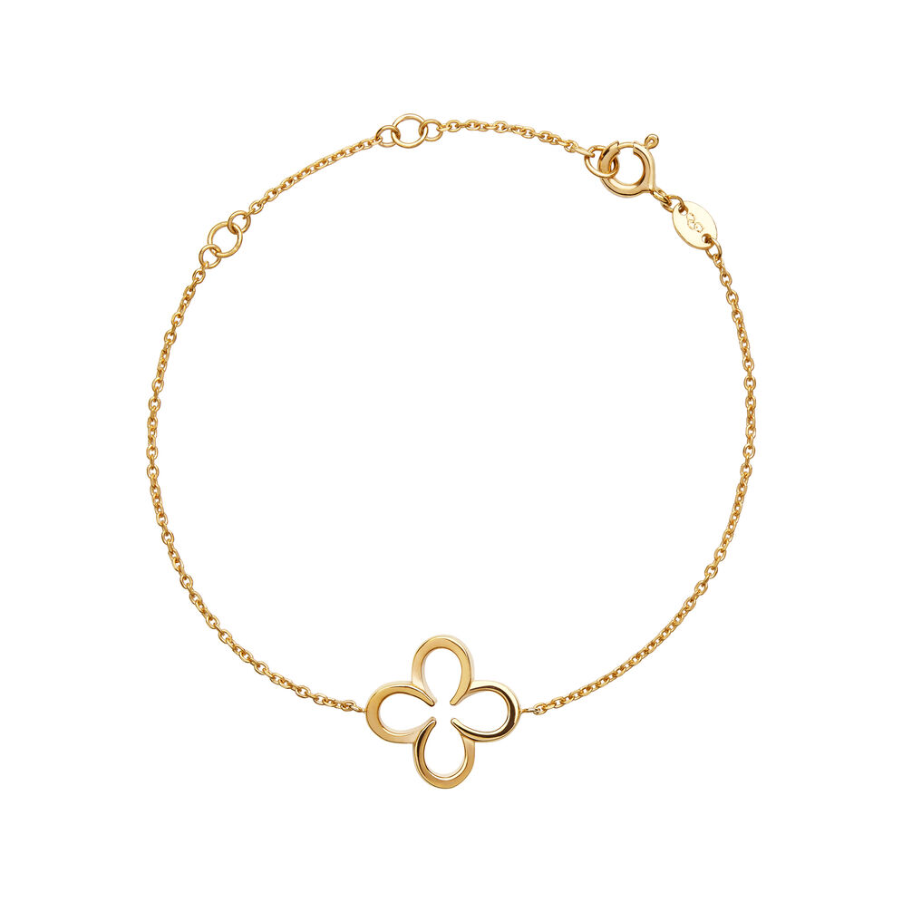 Ascot 18kt Yellow Gold Vermeil Lucky Clover and Horseshoe Bracelet, , hires