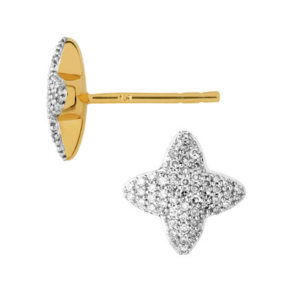 Splendour 18kt Yellow Gold Vermeil & Diamond Four-Point Star Stud Earrings, , hires