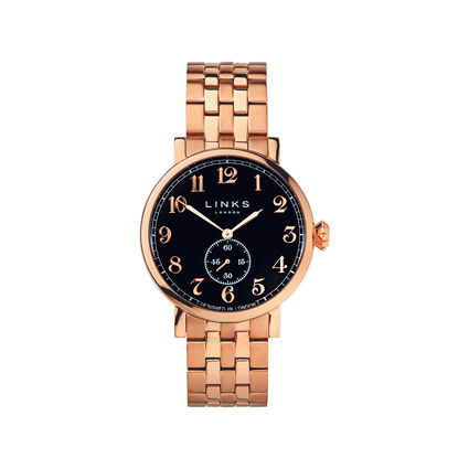 Greenwich Mens Black Dial Rose Gold Plate Bracelet Watch, , hires