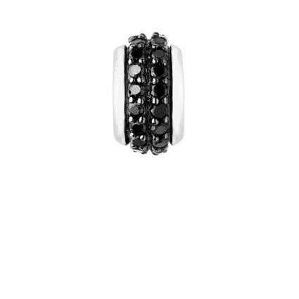 Sweetie Sterling Silver & Black Diamond Pave Rondelle Bead, , hires