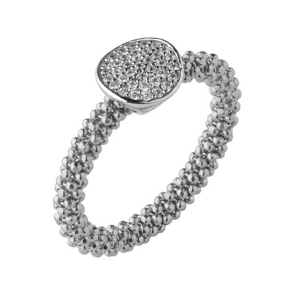Star Dust Silver Round Ring, , hires