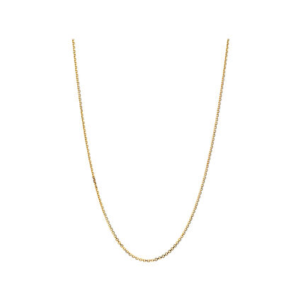 Essentials 18K Yellow Gold 1mm Cable Chain 60cm, , hires