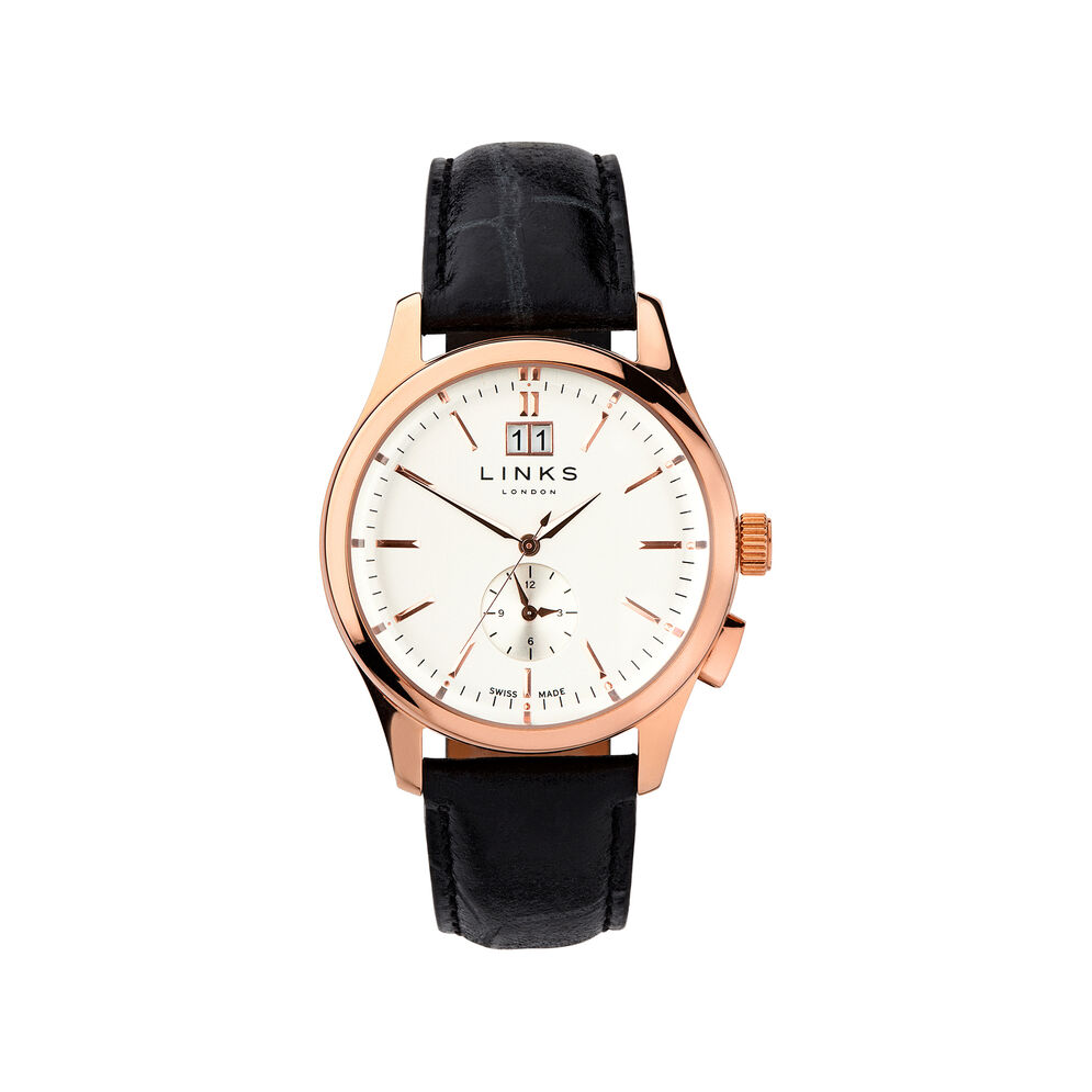 Regent Mens Rose Gold Plate & Black Leather Watch, , hires