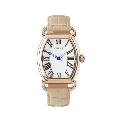 Driver Ellipse Rose Gold Plate Tan Leather Watch, , hires