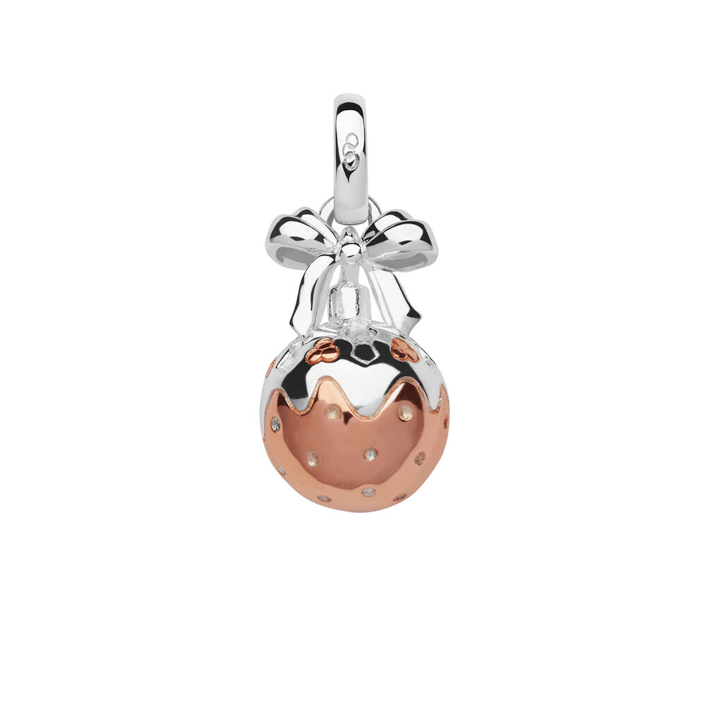 Sterling Silver & Rose Gold Vermeil Christmas Pudding Bauble Mini Charm, , hires