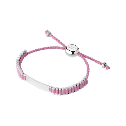 Sterling Silver & Pink Cord Baby Friendship ID Bracelet, , hires