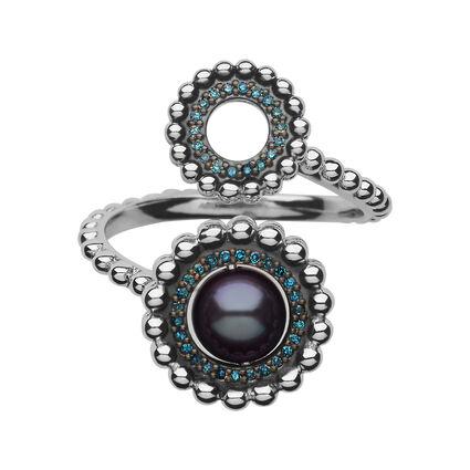 Effervescence Sterling Silver, Blue Diamond & Pearl Double Ring, , hires